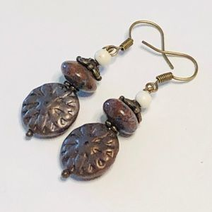Chocolate Brown Jasper & Pressed Class Earrings